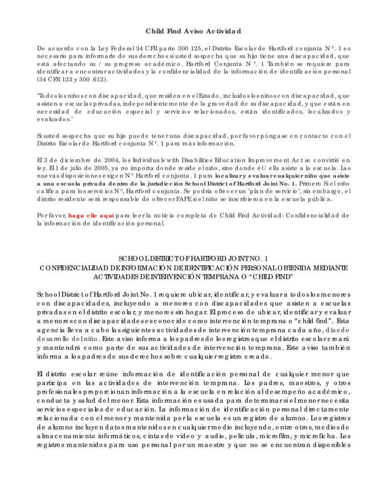 Child Find Activity Notice - Spanish (2020-21)